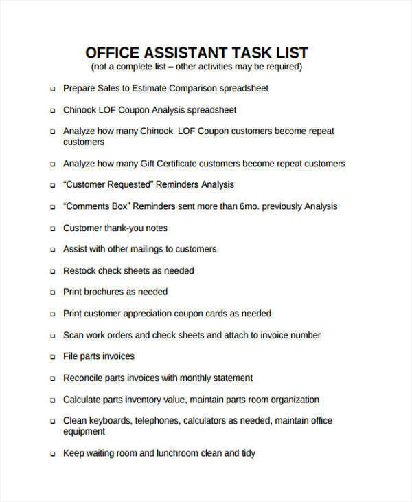 task list format for office