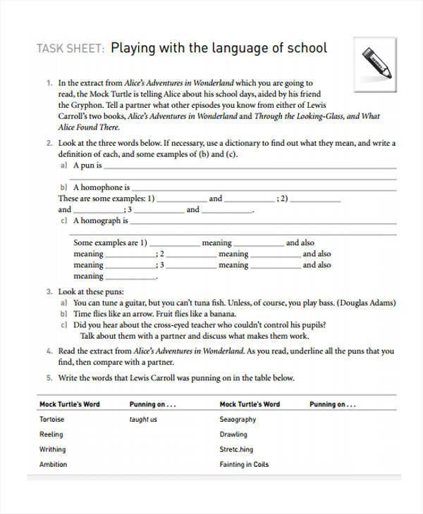 task sheet template for school