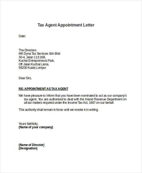 7 Sample Agent Appointment Letter Free Sample Example Format