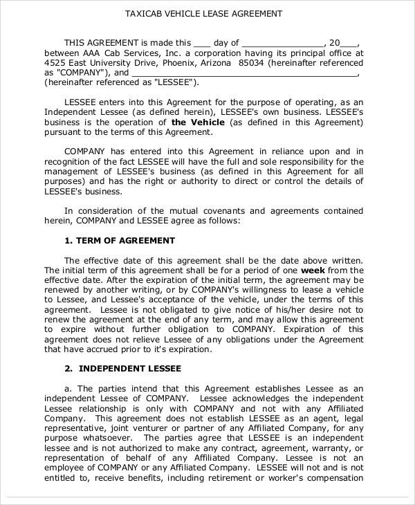 taxicab lease agreement template