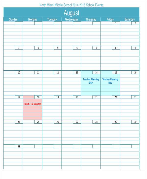 teacher planning calendar