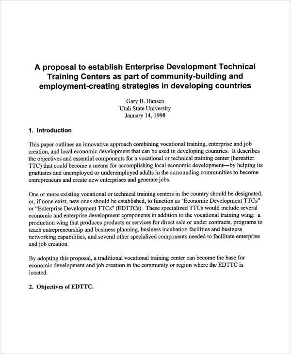 technical training sample proposal