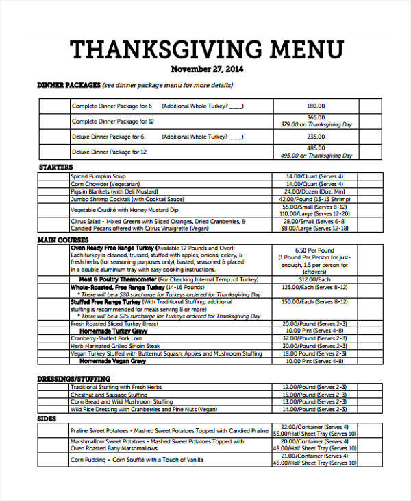 thanksgiving menu list