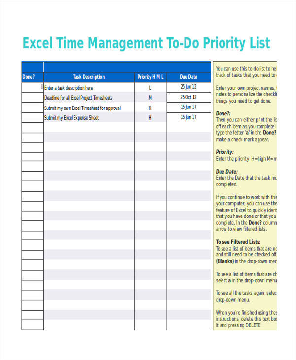 time management task list format