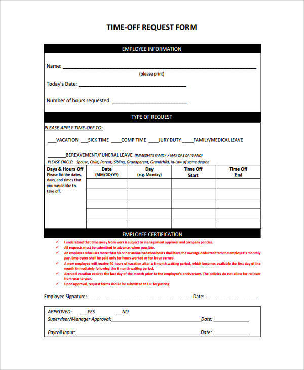 13+ Free Time Off Request Forms