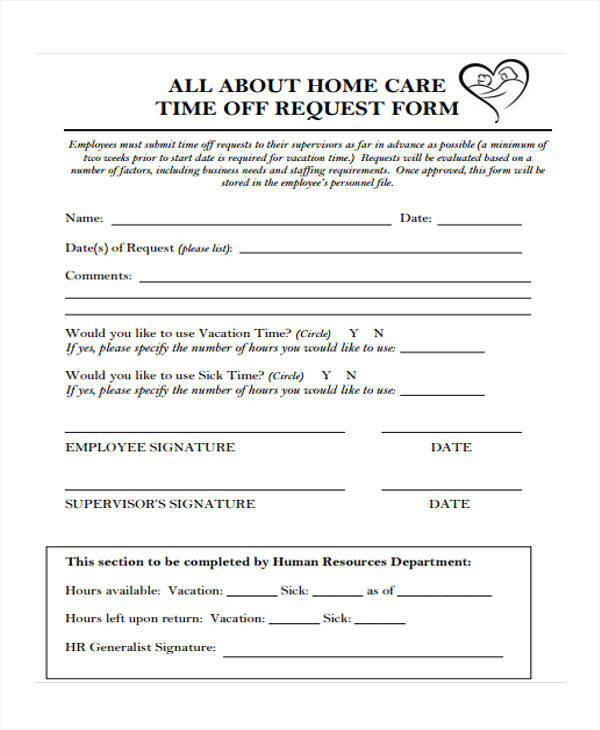 time off request form for home care1