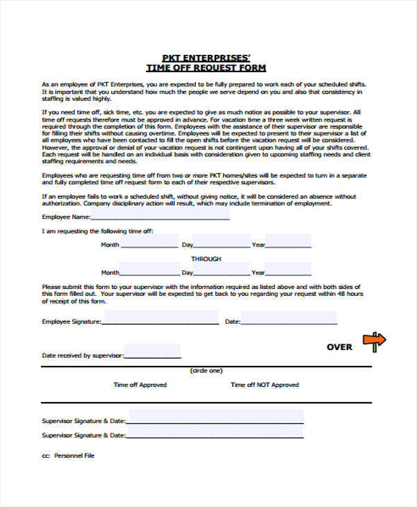 time off request form for business1