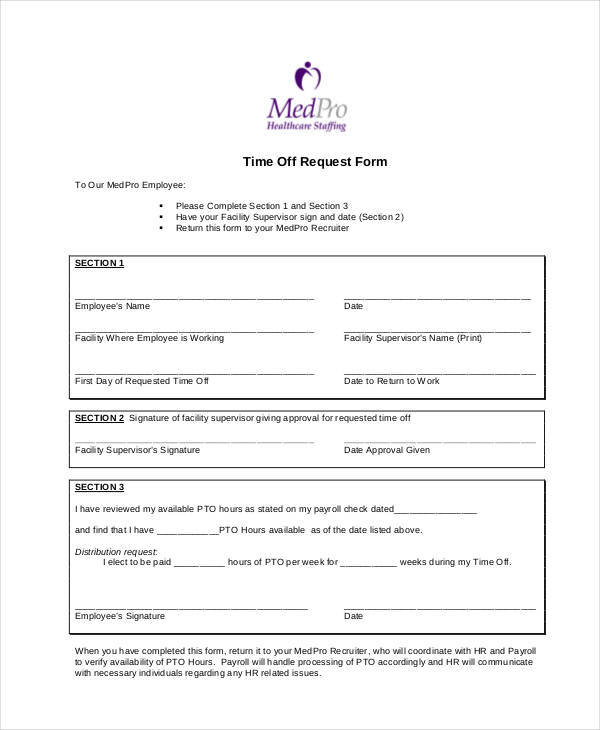 time off request form for health care1