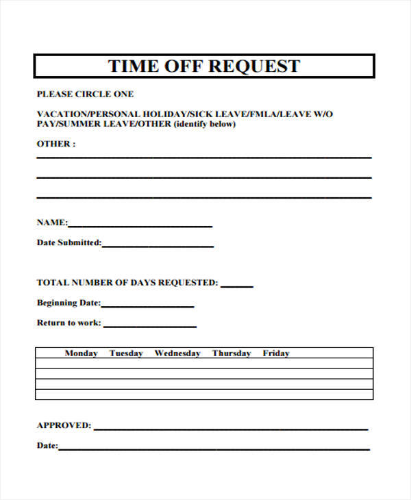 time off request form for holiday1