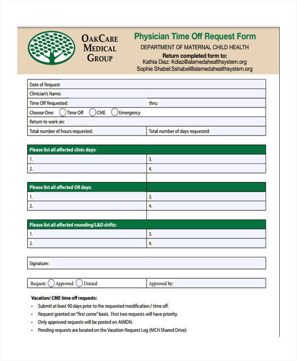 time off request form for physician1