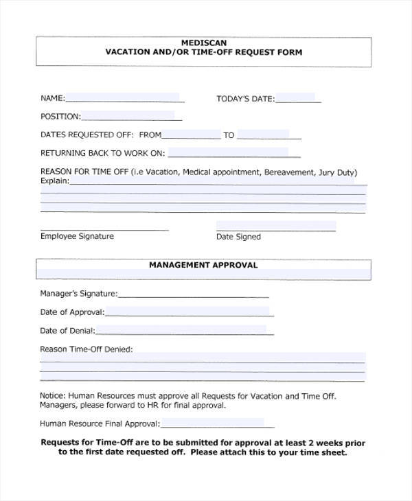 time off request form for vacation