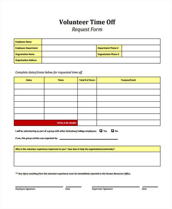 time off request form for volunteer