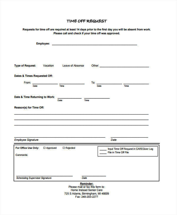 time off request form for work
