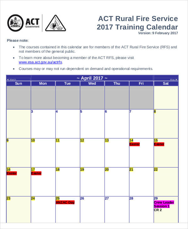training calendar example