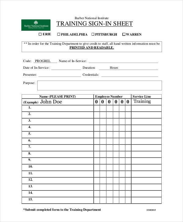 training sign in sample sheet