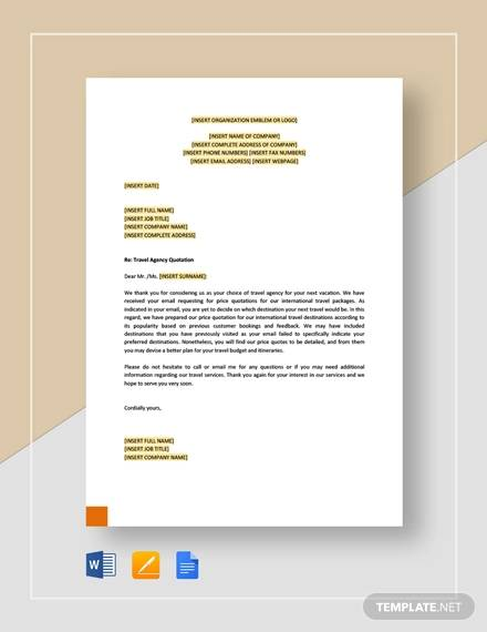 travel agency quotation template1