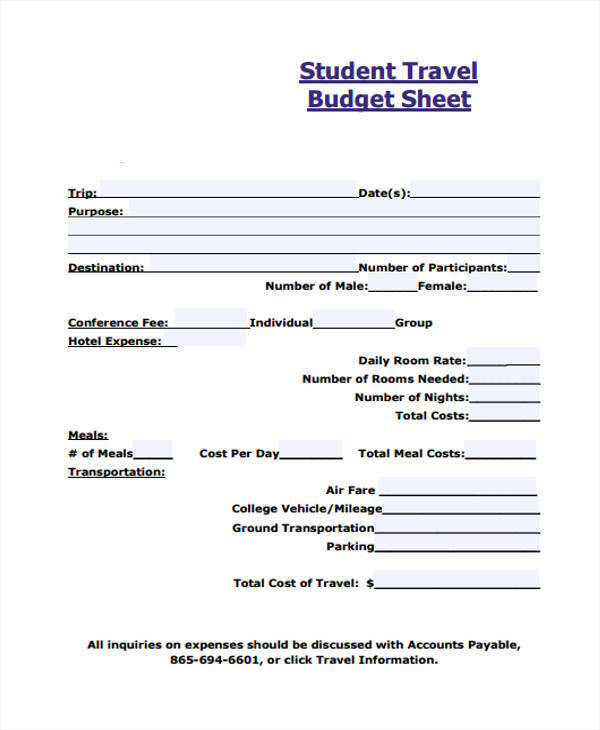 travel budget sheet