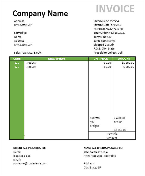 travel invoice template  7  Travel Invoice Samples – Examples in PDF, Word | Sample Templates