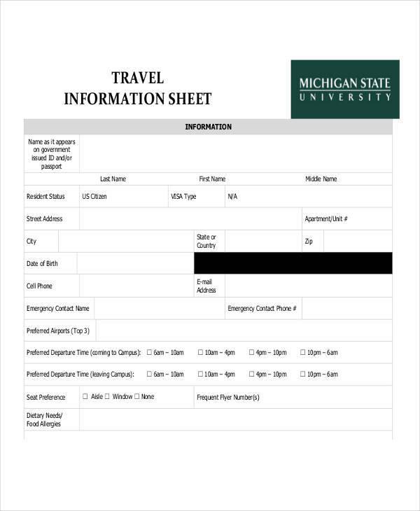 travel emergency information sheet