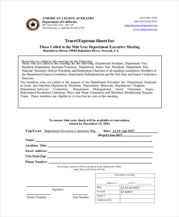 travel expense sheet
