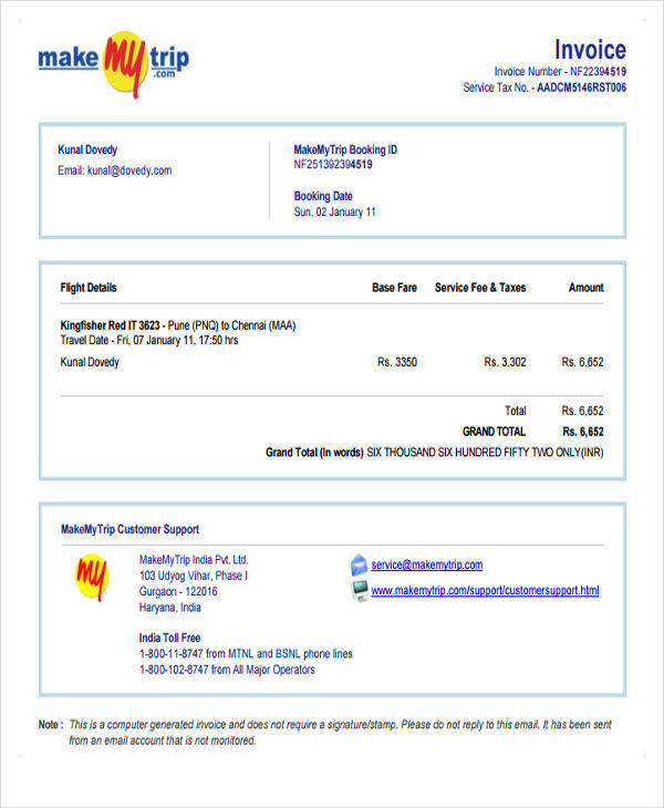 travel invoice sample in pdf