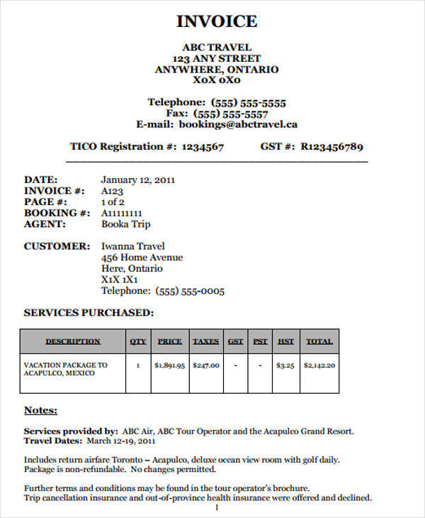 travel package invoice