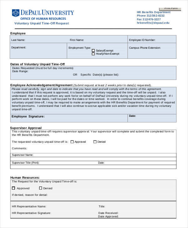 unpaid time off request form1