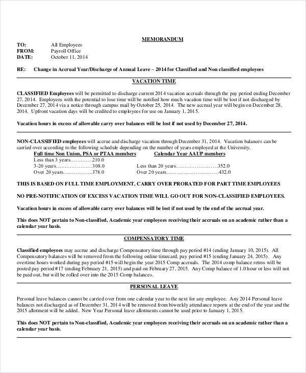 Notice Memo  Free Sample Example Format Download