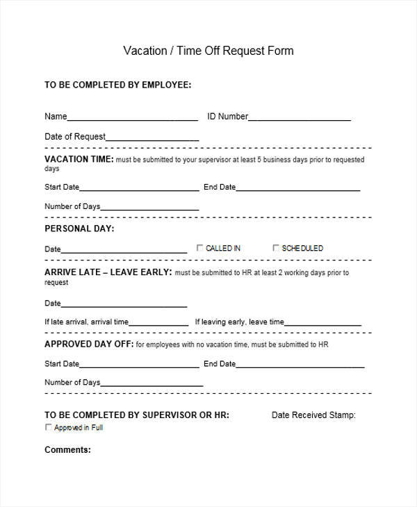 Vacation Time Off Request Form For Employee