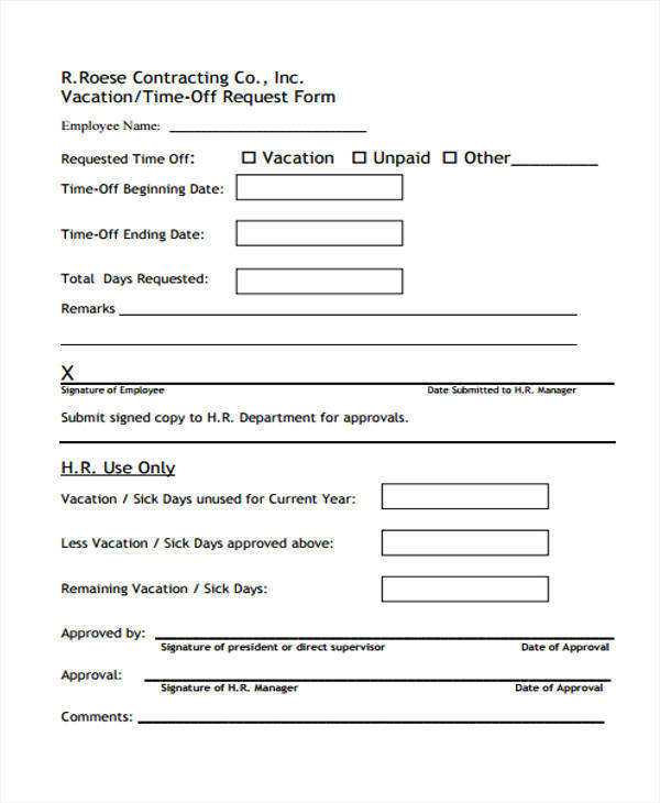 vacation time off request form for employee1