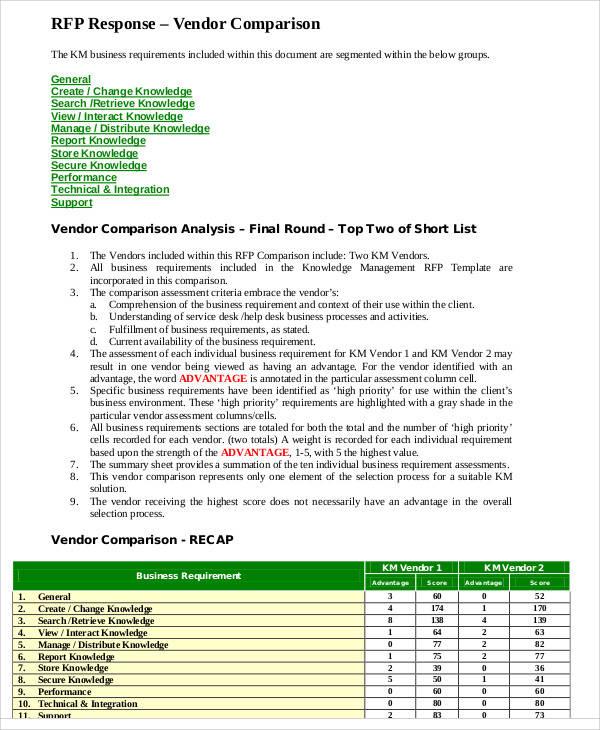 vendor comparative analysis