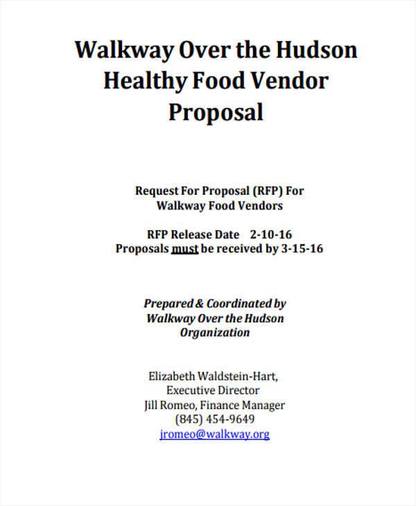 vendor proposal for food
