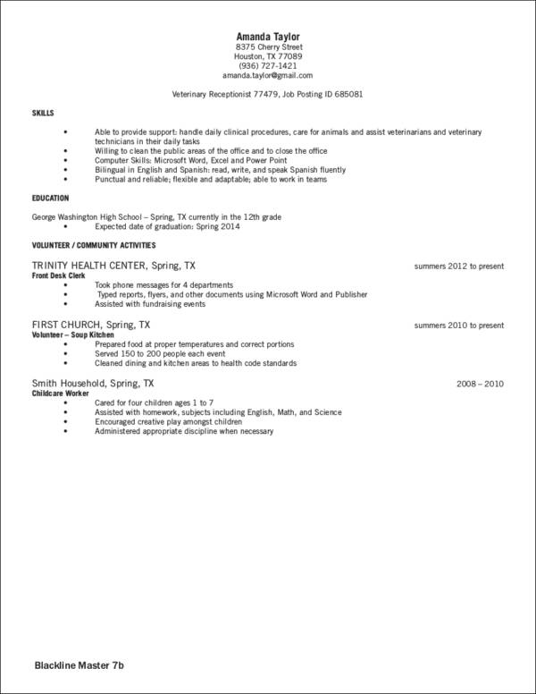 veterinary receptionist resume sample