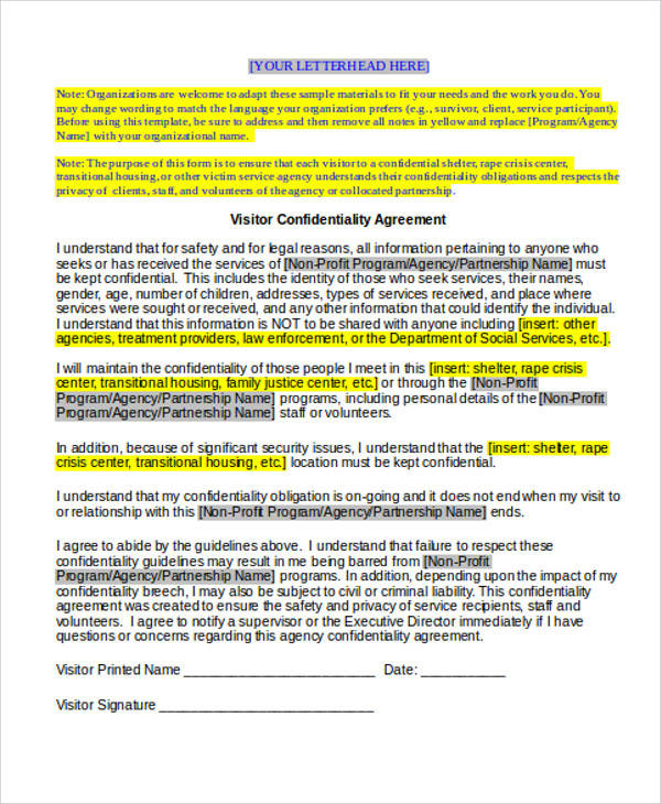 visitor confidentiality agreement