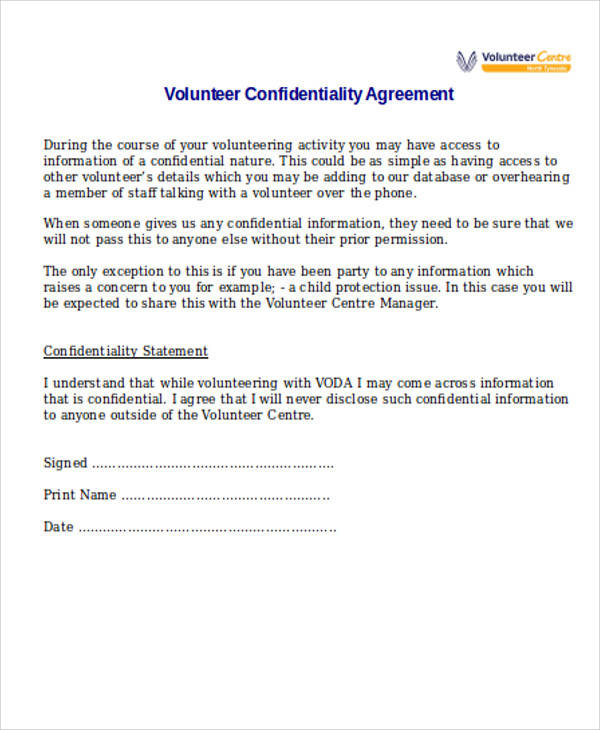 volunteer confidentiality agreement