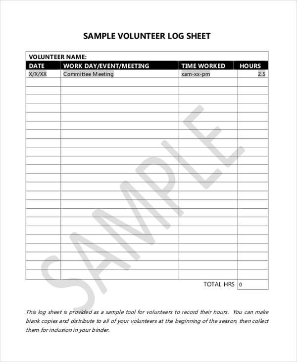 volunteer log sheet example