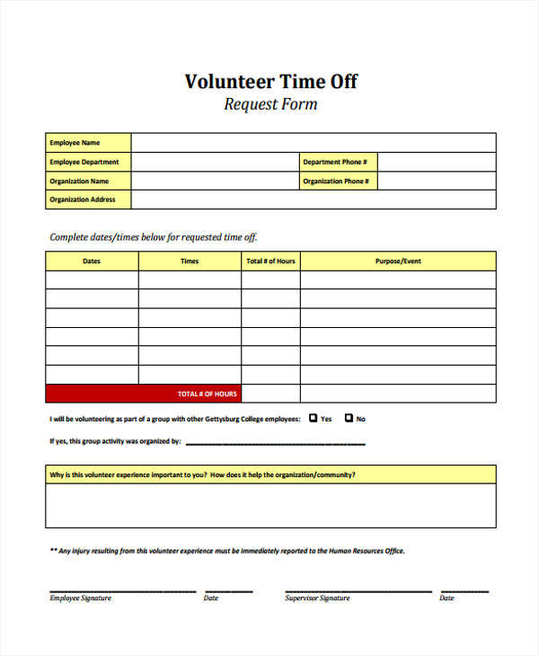 volunteer time off request form