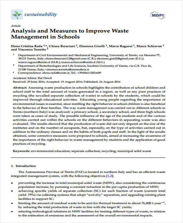 waste management analysis