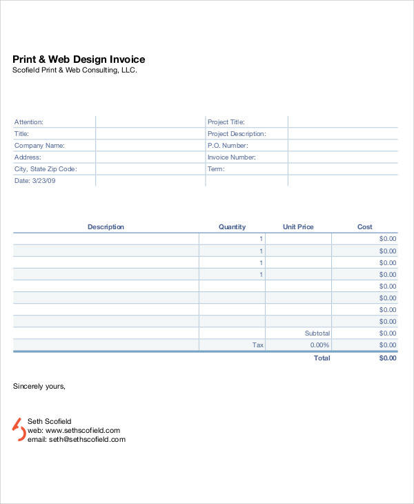 Sample Web Design Invoice   Examples In Pdf Word