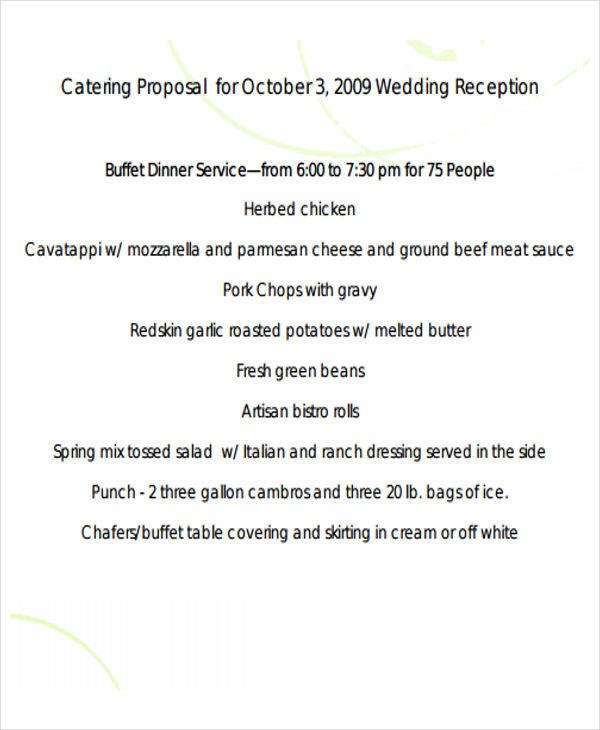 Catering Proposal Templates  Free Samples Examples Formats