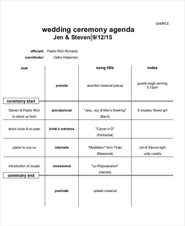 wedding ceremony agenda