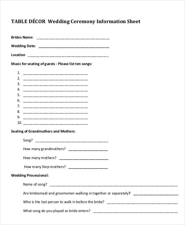 wedding ceremony information sheet
