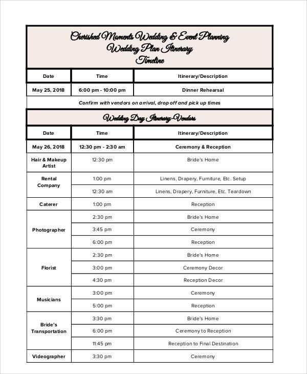 wedding event plan