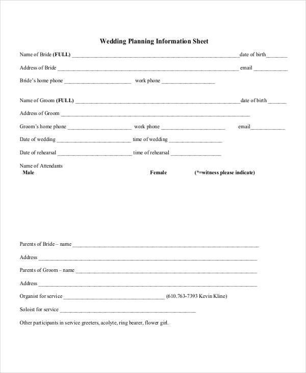 wedding planner information sheet