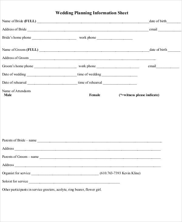 wedding planner information sheet1