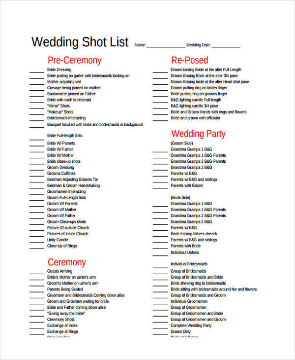 wedding shot list