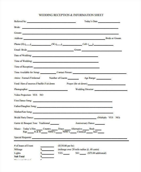 wedding vendor information sample sheet