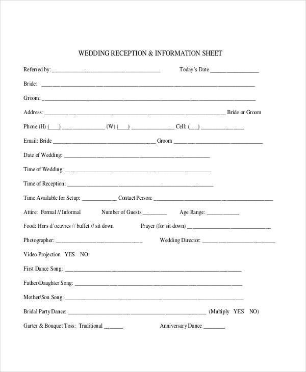 wedding vendor information sheet