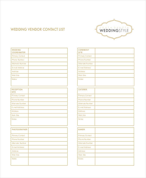 wedding vendor checklist template - 33 free list samples sample templates
