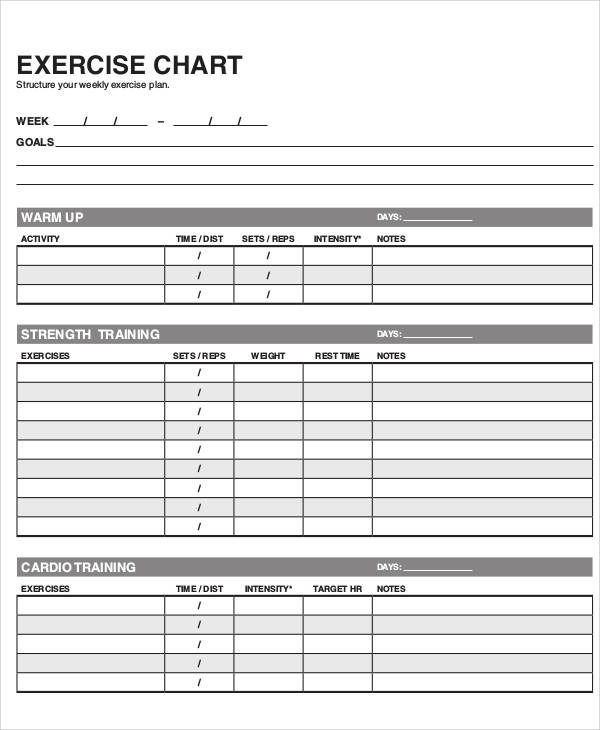 Free Exercise Chart Printable Exercise Chart Template